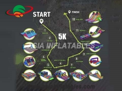Innovatieve maniac 5k obstacle race, thunderdash opblaasbare 5k mob run obstacle sport games